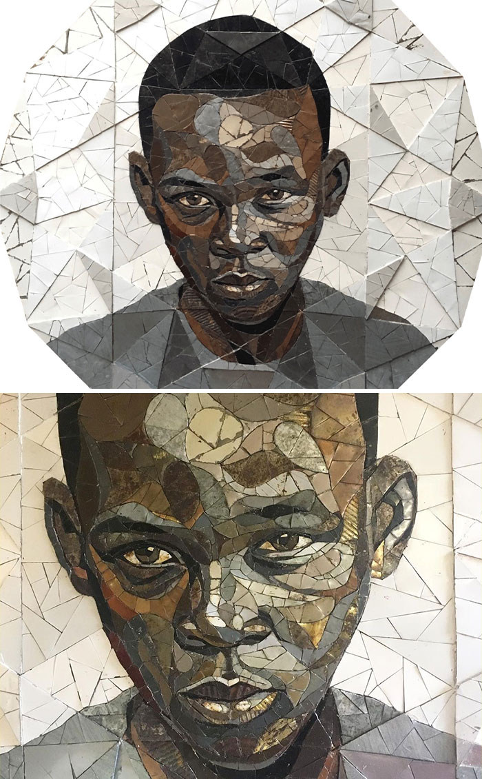 British Artist Crafts 19 Mosaic Portraits Of Real People Using Metal Scraps Found In Streets And Junkyards