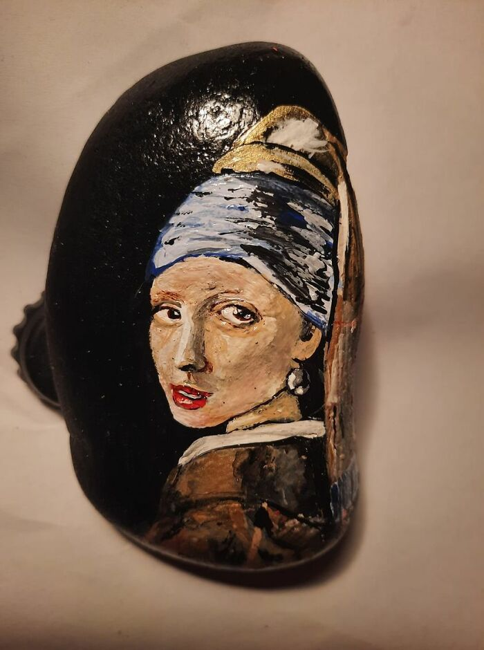 My Own Interpretation Of Girl With A Pearl Earring On A Little Stone, I'm So Proud Of It, An Incredible Feeling That My Hands Have Created This Piece Of Art.