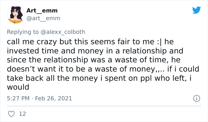 Guy Demands His Date Return $35 After It Didn't Lead To Anything More