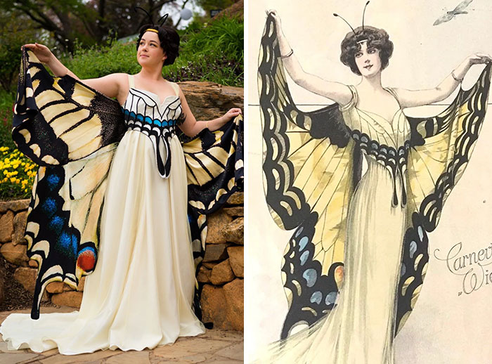 I Recreated An Early 1900s Illustration Butterfly Dress!