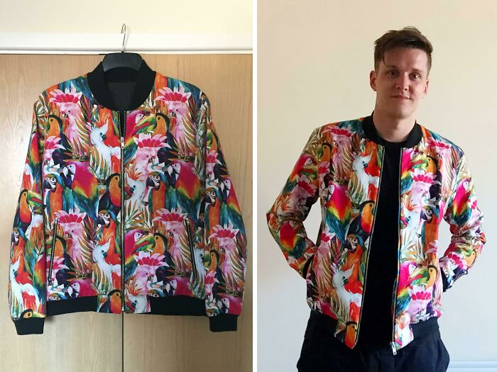 Self Drafted Bomber Jacket. I Saw The Fabric And Knew I Had To Make Something. It's My First Crack At A Jacket And The First Real Wearable Garment I've Made For Myself! I Think I'm Going To Be Making A Lot More!