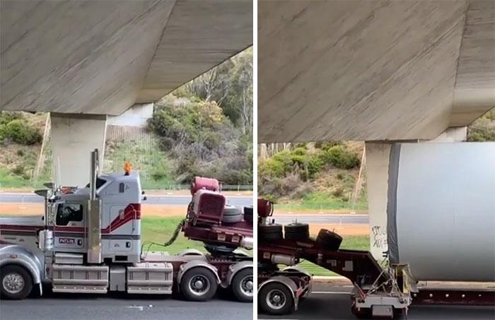 Este trailer con su carga pasando bajo un puente en Australia