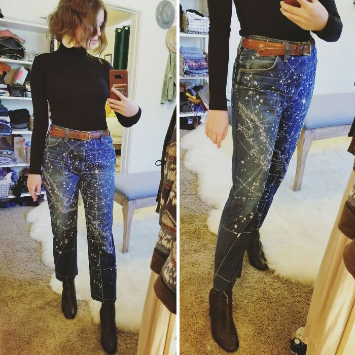 I Hand/Machine Embroidered A Starmap Onto These Jeans!