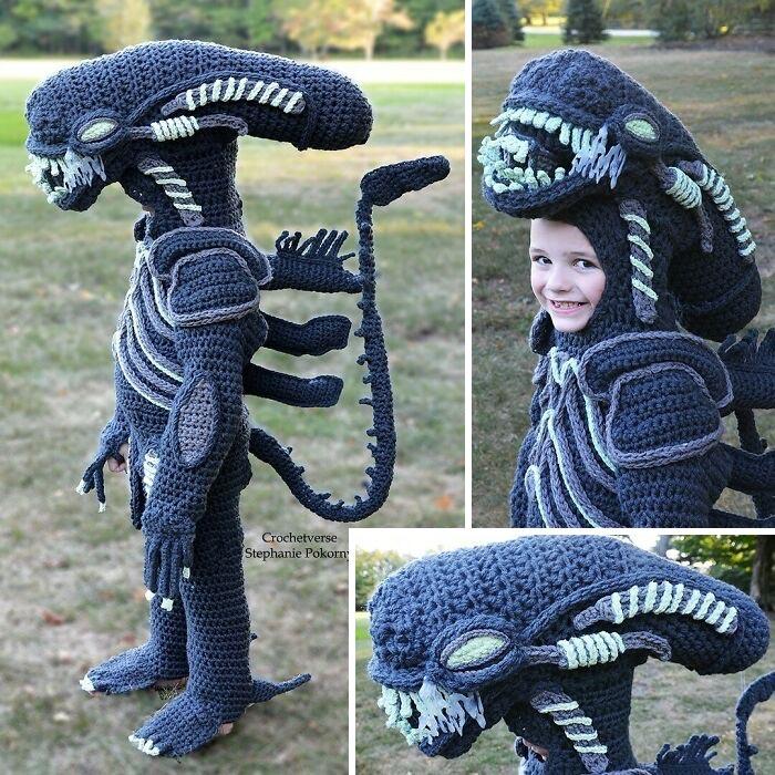 Xenomorph Crochet Full Body Costume! My Son's Choice! He Glows! (Freehanded/No Pattern)