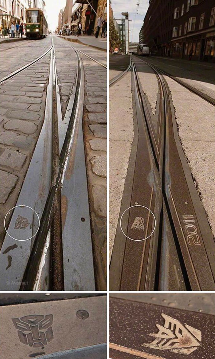 You Can Find Transformers Logos In 2 Spots On Tram Tracks In Helsinki Finland. No One Knows Where They Came From