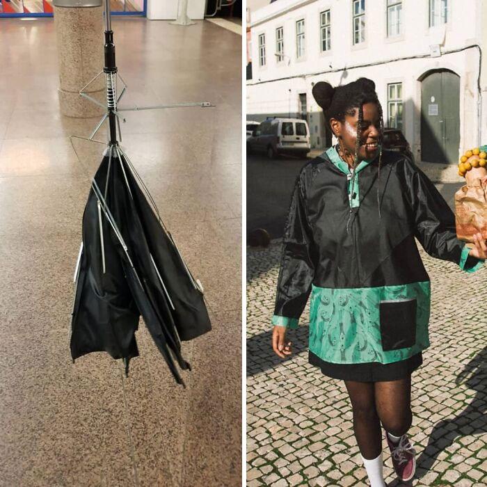 Coat Made With Broken Umbrellas