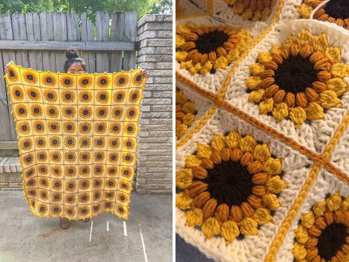 A Sunflower Blanket I Crocheted As A Housewarming Gift