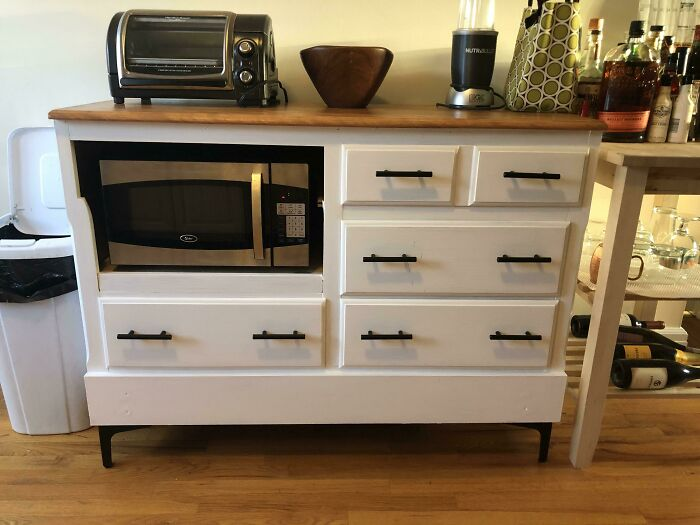 I Turned An Old Dresser Into A Microwave Stand!