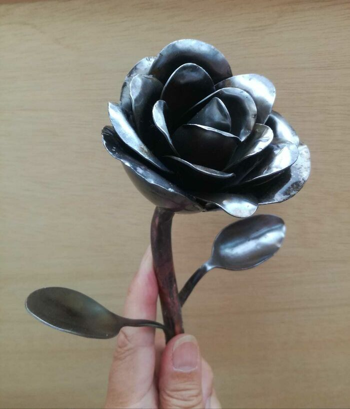 A Rose For My Partner On Our Anniversary, Made From Recycled Cutlery
