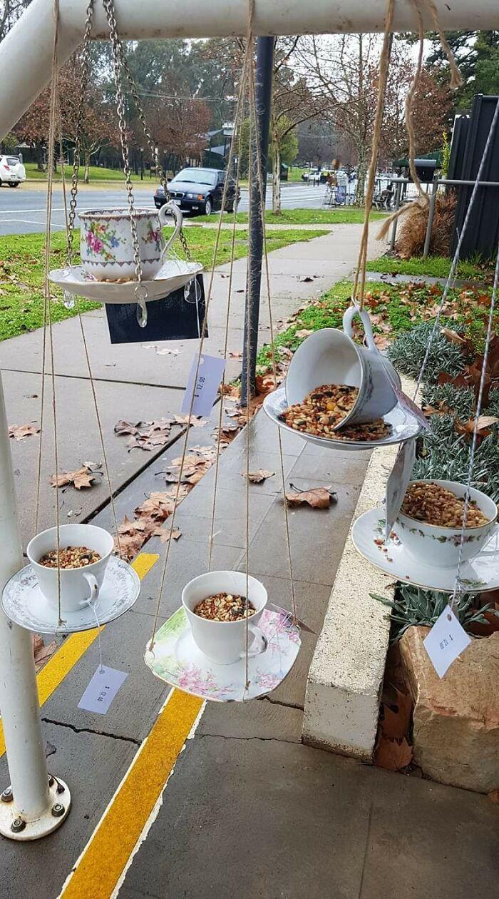 Teacup Birdfeeders Made By Me