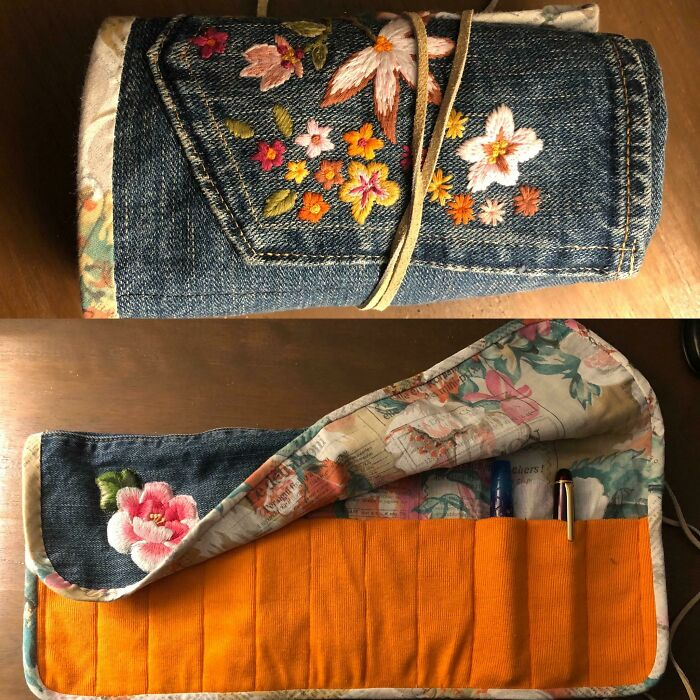 My Old Favourite Jeans Turned Into A Pen Roll