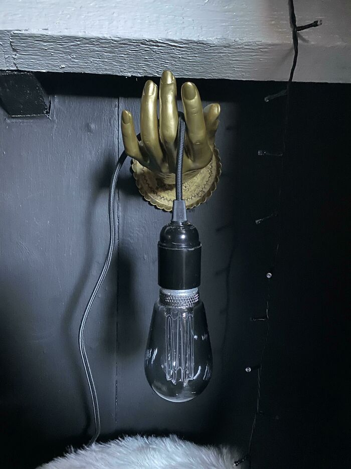 Turned An Old Mannequin Hand And Gold Metal Tray Into A Light! (Not My Idea Originally, I Saw Some Similar Online)