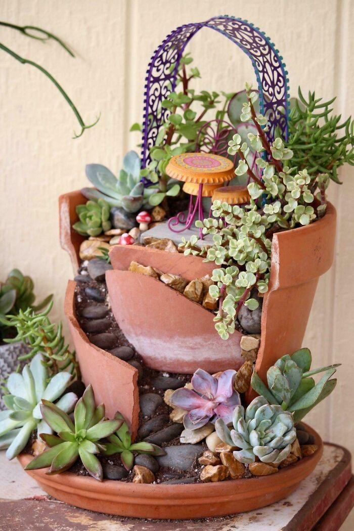 Made A Fairy Succulent Garden Patio Area With A Broken Pot