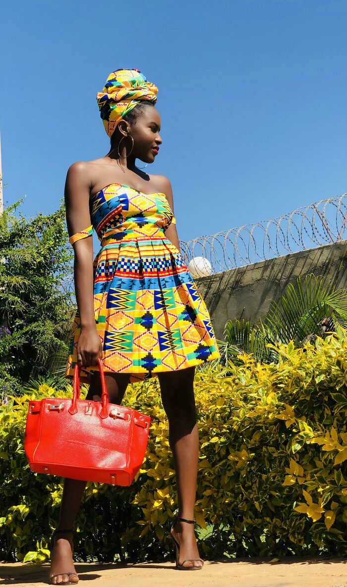 Self Drafted. No Pattern. Outfit I Made From Scratch From Kente Fabric