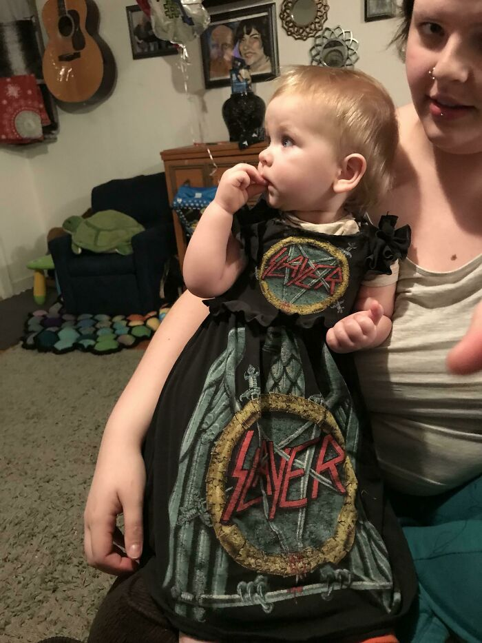 My Husband Gave Me Some Of His Old Band T-Shirts, So I Made A Dress For Our Daughter