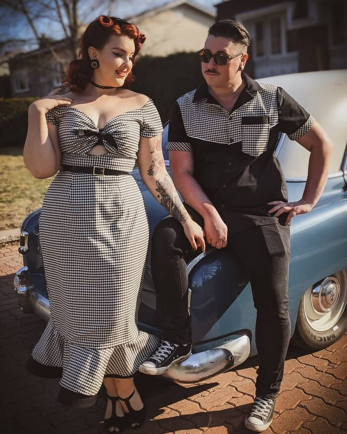 Matching 1950's Style Men's Shirt And Wiggle Dress