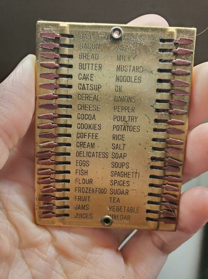 An Old, Metal, Pocket-Sized Grocery List!