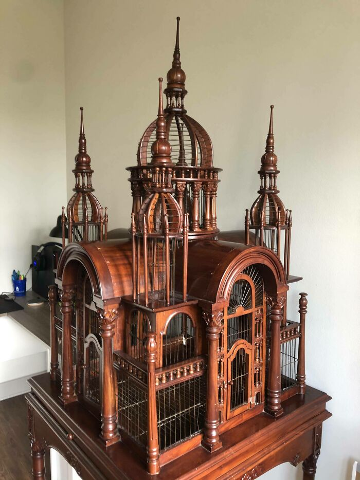 Picked Up A Victorian Style Cathedral Birdcage Today. It's 7' Tall With The Base! Never Seen One Like It