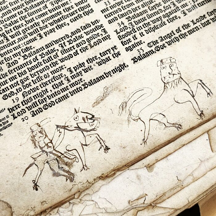 Found This Wonderful 17th Century Doodle Inside A Bible I'm Restoring