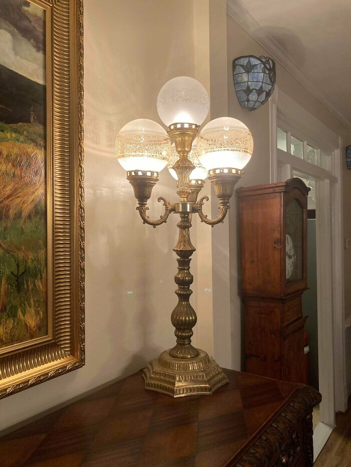 A Pair Of Old Lamps I Found On Facebook Marketplace For Dirt Cheap. I Think They Look Pretty Neat In Our Victorian House, But My Fiancé Hates Em' Lol.