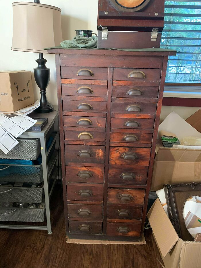 Purchased This Beautiful Antique Cabinet Online. It Now Houses My Art Supplies :)