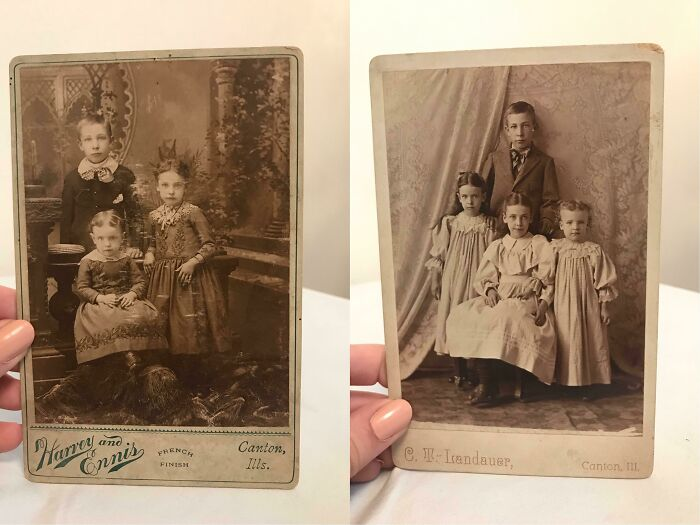 This Is Kind Of Cool! Six Months Ago, I Bought The Photo On The Right From An Antique Mall. Yesterday, I Went Back And Purchased The Photo On The Left. Only After Getting Home Did I Realize That They're The Same Kids, Just Taken A Few Years Apart!