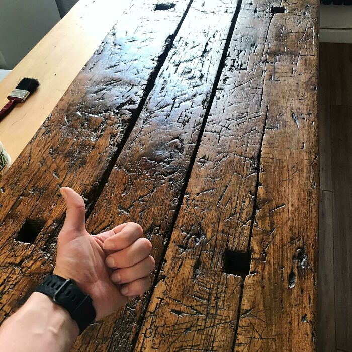 Just Showing Off My Desk. It's A Beautiful Hunk Of Hungarian Oak, Previously A Farm House Table. It's Used On A Daily Basis And So Just Giving It A Fresh Coat Of Wax To Keep Up With Its Maintenance