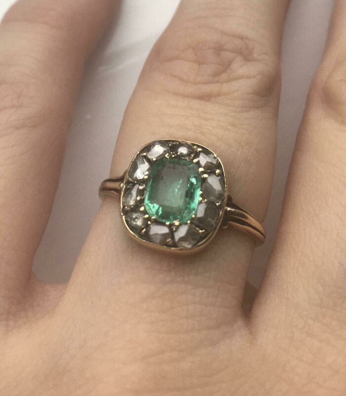 Late Georgian 18ct Gold Emerald And Diamond Ring