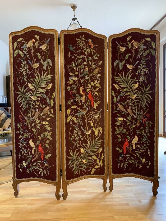 A 1920s Belgian Embroidery Folding Screen