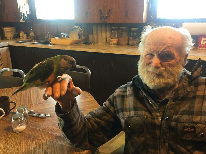 My 92 Year Old Grandpa Holding My Parrot For The First Time. He Insisted That I Take A Photo Of Him So He Could Print It Out To Show His Friends