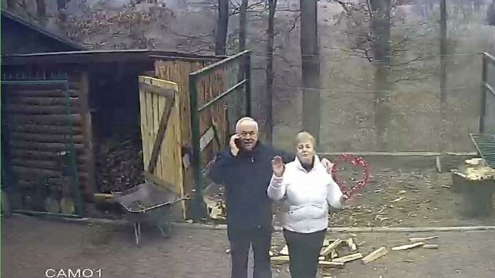 I Live Abroad. My Grandparents Called Me To Urgently Check The Security Web Cams Of My House Back Home. Turns Out They Called So I Could See Them Standing With A Heart And Waving At Me