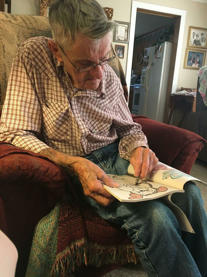 My Grandpa's 88th Birthday Was A Few Weeks Ago. My Sister Got Him A Coloring Book And Crayons. He Says He's Never Colored Before, But He Seems To Enjoy It. He Shows All His Visitors The Pages He's Finished. He's Colorblind, So Some Of The Puppies Are Pink, But He's So Happy. He Melts My Heart