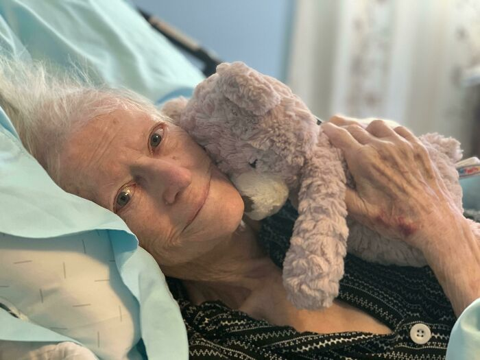 My Grandmas 94 Last Week. She Has Dementia And Is Bed Ridden But She Still Has Her Good Spirits. She Loves This Teddy Bear My Cousin Gave Her. So If Me And My Mom Are Feeding Her And She Starts To Fiddle, She Holds Onto It. Love Her So Much