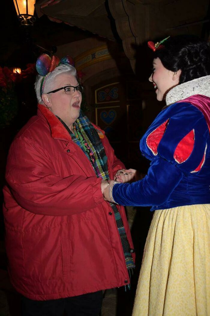 My Mom Got To Visit Snow White - Her Favorite Princess Since She Was A Little Girl. My Mom Retired Friday And This Was Her First Trip To Disney Ever