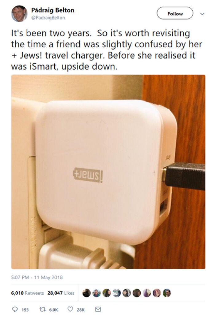 An Upside Down Ismart Charger