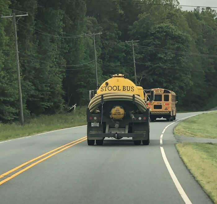A Stool Bus Behind The School Bus