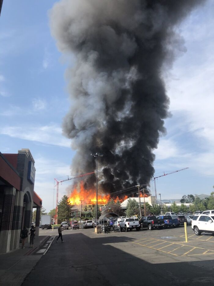 3 Alarm Fire In Salt Lake City. New Apartments Under Construction Burned Up, Took 12 Businesses With It Including A Porsche Dealership. 65 Firefighters Attended. No Injuries Or Deaths. Still Watering Down The Hotspots Tonight