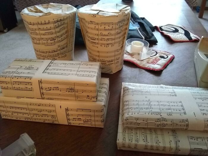 I Saw A Previous Post Which Used Old Maps As Wrapping Paper, So Here Is My Old Music Used As Wrapping Paper!