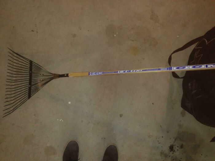 I Combined A Broken Hockey Stick And Rake Into A Much Stronger Rake. Is This A Win?