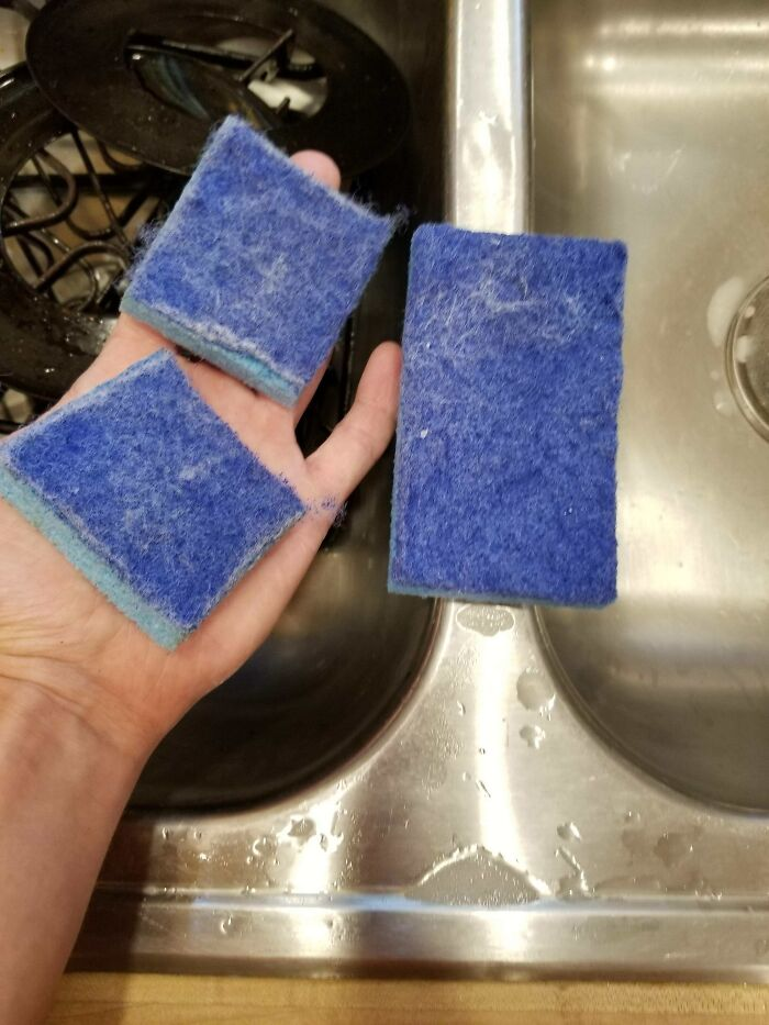 Whenever I Get A Dish Sponge That Is Past Its Lifetime For Washing Dishes, I Always Cut It In Half And Then Retire Those Sponges For Household Cleaning Around The Bathroom And Other Dirty Areas. Cutting In Half Make Sure That They Never Get Used For Dishes Again