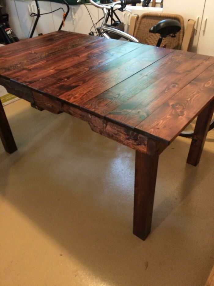 Built A Table Out Of Shipping Pallets Left For Trash Outside A Shipping Center! Total Cost: $23