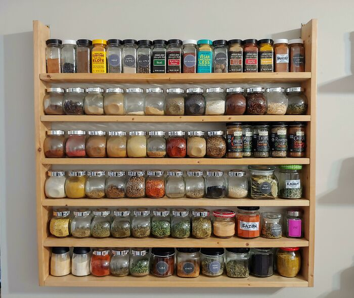 Not Paying For Expensive Spices Shelf. Instead, My Boyfriend Made This From Old Bed Slats. Jars From Mustard, Jams Etc. To Keep Homemade Seasoning Blends