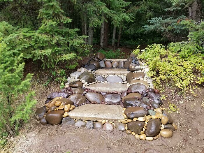 Made A Staircase With Rocks And Repurposed Cement Slabs