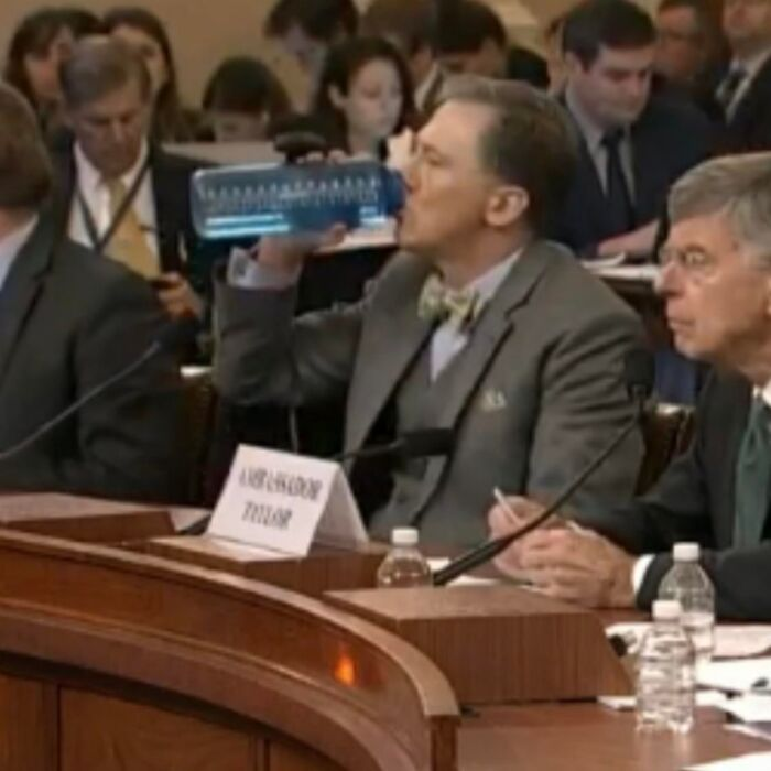 George Kent Using His Own 64oz Nalgene Bottle Instead Of The Single Use Plastic Bottles Provided At The Impeachment Hearing Today