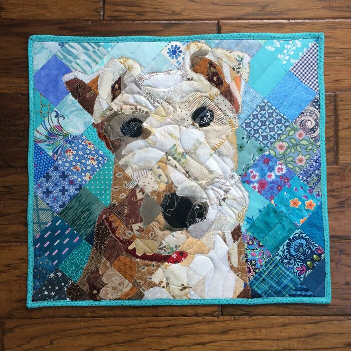 My Christmas Present To My Mother In Law. (It Looks Like Her Dog.) I Used All Donated Scrap Fabric. I Throw Away Nothing When Trimming - I Keep Even The Tiniest, Weirdest Pieces When I'm Quilting My Big Quilts, Because You Never Know When Something Is Going To Need A Shadow, A Collar, Or A Nose
