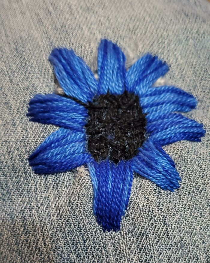 My Eldest Daughter, 13, Started Doing Embroidery After She Saw Some Videos On Instagram. Yesterday She Surprised Me With This Beautiful Flower That She Stitched Over A Hole In My Favorite Jeans!