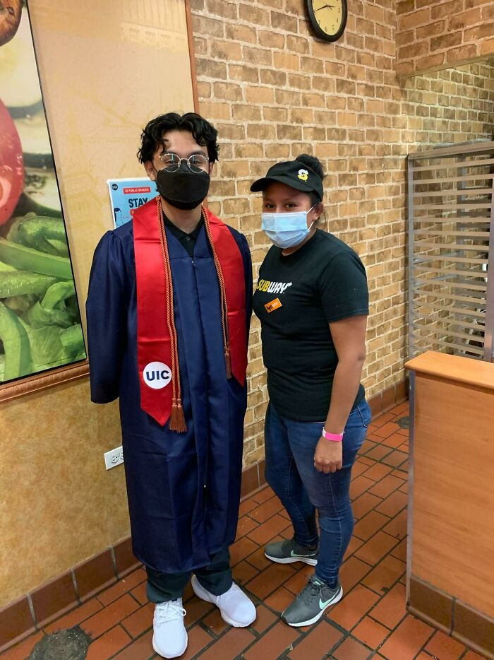My Favorite Graduation Photo. This Woman At My Campus' Subway Kept Me Fed For 4 Years, And When I Was Low On Money, She Came Through For Me