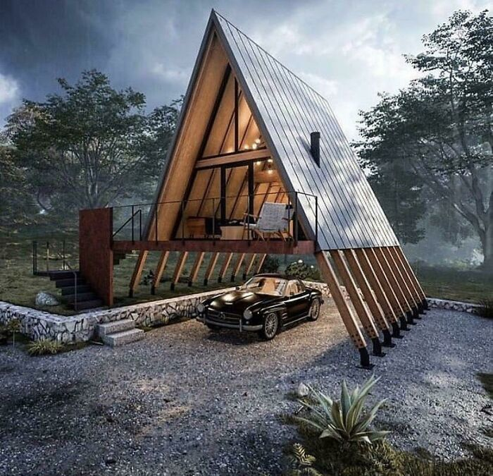 A Crazy Modern A-Frame Cabin. That's One Place To Park A Car!