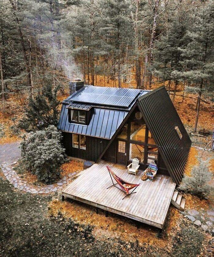 Black A Frame Cabin