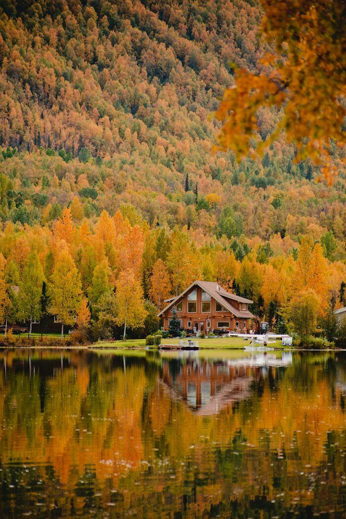 A Fall Cabin On Mirror Lake In Alaska